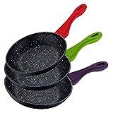 Renberg Color Cook! Original juego de 3 sartenes con revestimiento de mármol, negra, fondo de tipo panal de abeja y asas de acabado liso de distintos colores. Diámetros 20/24/28 cms.