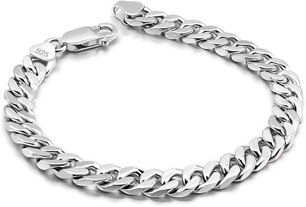 Meilanduo Solid 925 Sterling Silver Miami Curb Cuban Link Chain