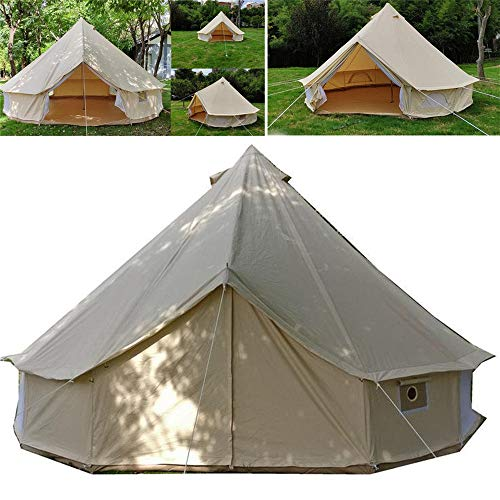 NEHARO Camping Tent Large Space Tent Waterproof Cotton Canvas Glamping Canopy Tent Picnic Products Durable Tent Lightweight Waterproof Hiking Tent (Color : Beige, Size : 3m)