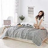 SANACYNA Manta de gasa de 6 capas, 100% algodón, a cuadros, color gris, manta de cama Queen, ligera, suave y transpirable, para sofá cama, colcha a ambos lados (gris, Queen (90 x 90 pulgadas)