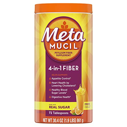 Metamucil Fiber, 4-in-1 Psyllium Fiber Supplement Powder with Real Sugar, Orange Smooth Flavored Drink, 72 Servings (Packaging May Vary), Coarse Texture, 1.9 Pound (Pack of 1)