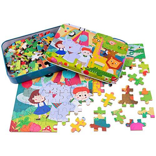 Yikky Holzpuzzle Spielzeug für Kinder 3 4 5 Jahre, 120 Stück Holzpuzzles Kleinkind Lernspielzeug Montessori Spielzeug Geburtstags Geschenk Kinder Tier Holzspielzeug ab 3 Jahre Mädchen Jungen