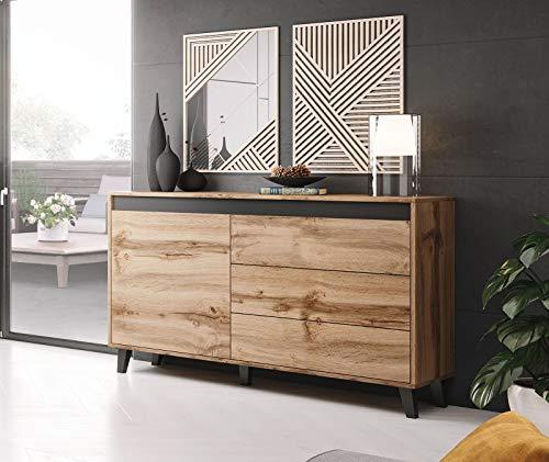 BMF NORD Sideboard Kommode Modern Wohnzimmer 138 cm breit WOTAN Eiche Holz-Effekt