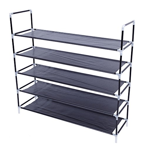 Firlar 5-Tier Metal Shoe Rack, Shoe Storage Organizer, Non-Woven Fabric Shoe Holder Stand Shelves with Handle for Entryway, Hallway, Closet, Black