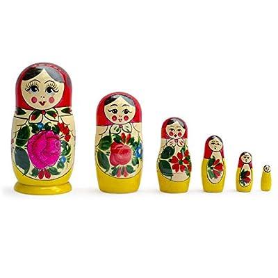 "5.5"" Set of 6 Semenov Wooden Russian Nesting Dolls - Matryoshka Stacking Nested Wood Dolls"