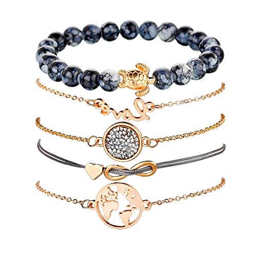 Wikimiu Armband Damen, Armband-Set Herz Weltkarte Schildkröte Perlen und Zirkon Türkis, Persönlichkeit Modeschmuck für Frauen