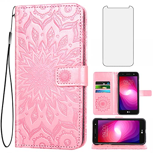 Phone Case for LG X Charge/Fiesta 2 LTE/X Power 2/X5/LV7 Wallet Cases with Tempered Glass Screen Protector Leather Slim Flip Cover Card Holder Stand LG-M322 XPower 3 SP320 M327 M322 Women Rose Gold