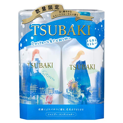 Camellia (TSUBAKI) Silky Straight Winter Pump Pair (Shampoo and Conditioner)