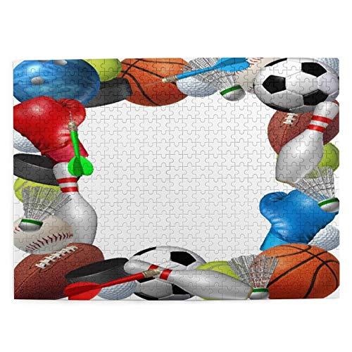 PbbrTK Puzzles für Erwachsene 500-teiliges Intelligenz-Dekompressions-Spaßspiel,Sportausrüstung vom Basketball Boxen Golf Bowling Tennis Badminton Fußball Fußball Eishockey,Puzzle Größe 20.5