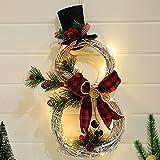Bseical Corona de Navidad para Puerta con LED, Forma de muñeco de Nieve, Decoracion Navidad Guirnaldas Adornos para Puertas, Corona Adornos Navidad para Paredes, Puertas Ventana, Hogar, Chimeneas