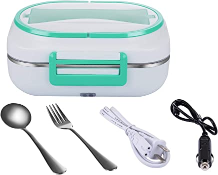 JMCQOO Electric Heating Lunch Box, Portable Bento Meal Heater Removable 304 Stainless Steel Inner Box Lunch Containers 110V and 12V Dual Use Heating Thermal Lunch Box For Car Office Home (Green)
