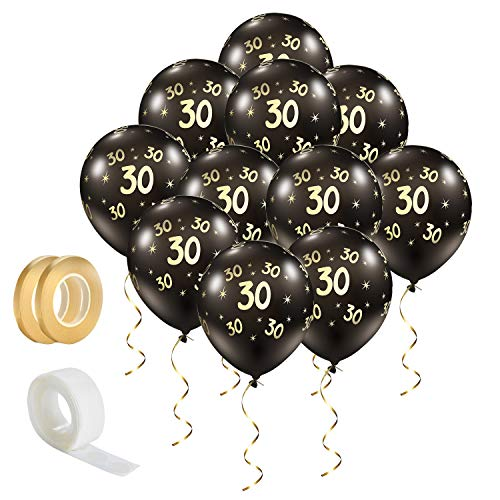 Lusee 20 piezas Globos de Látex Negros con Cintas y Punto Adhesivo para Cumpleaños, Aniversario o Actividad de Negocios (Número 30)