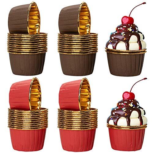 Cupcake Fälle, COTEY 100 Stück Aluminium-Folien Papierbackförmchen Muffinförmchen Papier Cupcake Formen für Hochzeiten, Geburtstage, Partys, 4 x 7 x 5 cm(Rot und braun)