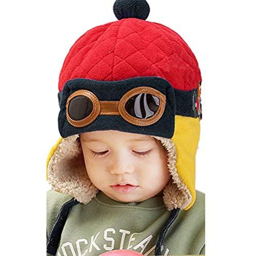 EDOTON Gorros Bebé, Invierno Caliente Aviador Sombreros Niño Niña Sombrero Piloto Tejer Earflap Sombreros (Rojo)