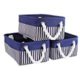 ORIGA Canvas Storage Baskets, [3 Pack] Decorative Fabric Baskets with Rope Handles, Empty Gift Baskets,Baskets for Organizing Magazine, Clothes Baskets, Dog Toy Bins-12inch x 8.2inch x 5.1inch