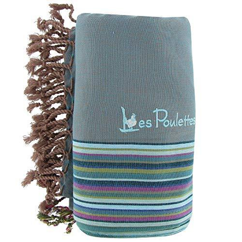 LES POULETTES Kikoy Serviette Plage Coton Eponge Couleur Vert de Gris