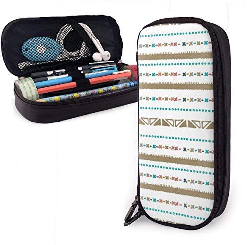 Estuche de piel étnico con estilo nativo, de 8 x 3.5 x 1.5 pulgadas, bolsa de lápiz con doble cremallera para escuela, oficina, niñas, niños y adultos