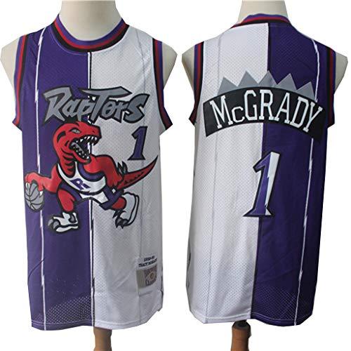 XYFF Tracy McGrady Toronto Raptors # 1 Jersey de Baloncesto Costura púrpura y Blanca Versión Retro Camisas Deportivas para Hombres Tela de Malla Transpirable 100% poliéster L