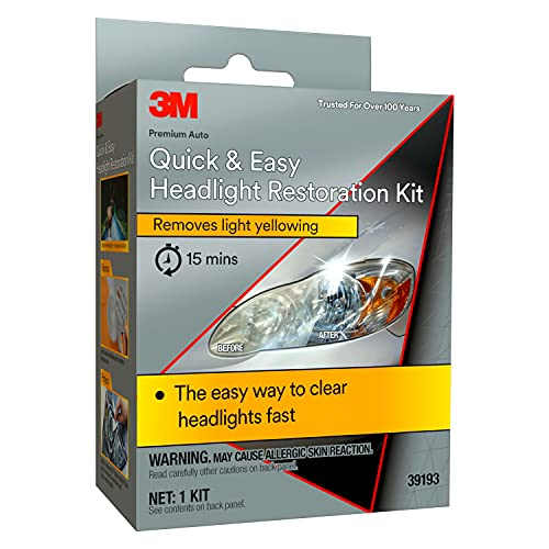 3M 39193 Quick and Easy Headlight Restoration Kit, Removes Light Yellowing in 15-Minutes