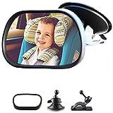 Bebé Espejo Retrovisor, Espejo de Bebé en el Coche, espejo del asiento trasero para Asiento para bebé con ventosas y soporte, espejo de seguridad para bebé con vista trasera ajustable