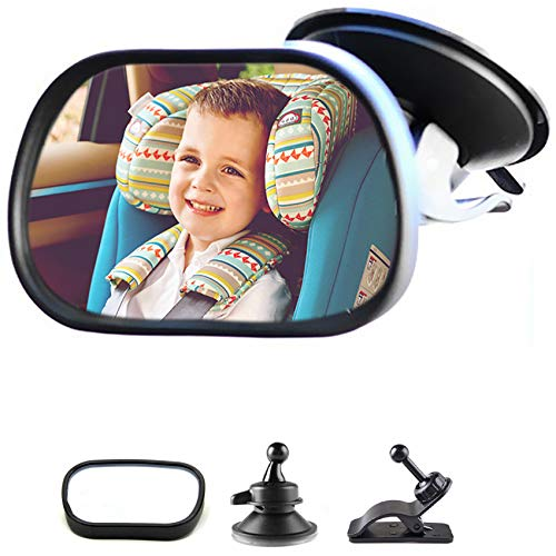 Rücksitzspiegel, Baby Kinder Rückspiegel,Rücksitzspiegel für Babys Kindersitz mit Saugnäpfe und Klammer, Einstellbare Auto Baby Ansicht hinten Sitz Baby Sicherheit Spiege