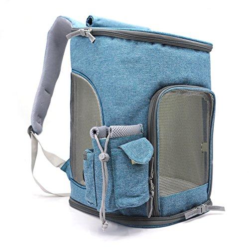 Hundetragetasche Faltbarer Rucksack fuer Hunde Und Katzen Atmungsaktiv Leichtgewicht Hund Rucksack Wasserdicht(44x28x27cm,Blau)