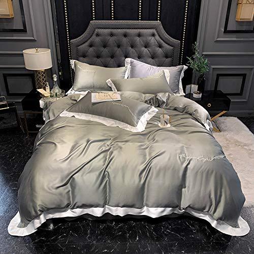 Quality Products Sets de Housses de couettes Royal Luxury Literie Solide Couleur Broderie Tencel Set (1 Housse De Couette + 1 Feuille + 2 Taies d'oreiller) 220 * 240cm
