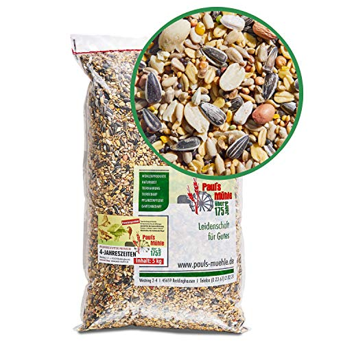 Paul´s Mühle Wildvogelfutter, Ganzjahresfutter für Wildvögel, 4-Jahreszeiten, 5 kg