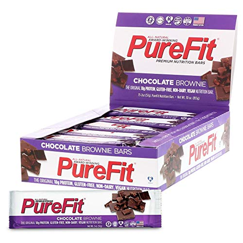 PureFit Protein Bar - All-Natural, Gluten-Free, Non-GMO, Vegan Protein Bars - Meal Replacement Bar - Chocolate Brownie Bar, 2oz (Pack of 15)