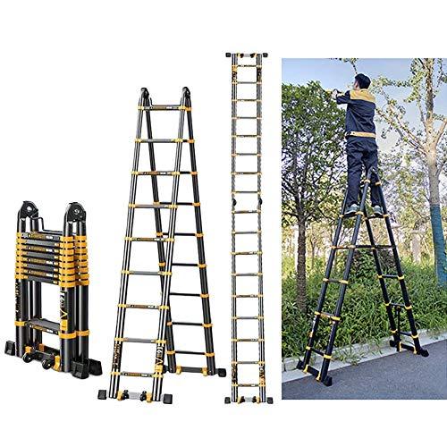 ZRABCD Escalera de Extensión Telescópica de Aluminio de 5,8M Stepladder, Escalera Plegable de Bricolaje Extensible Portátil para la Oficina de Oficinas de Loft Hogar, Negro, Carga 330Lb,2.9M + 2.9M (