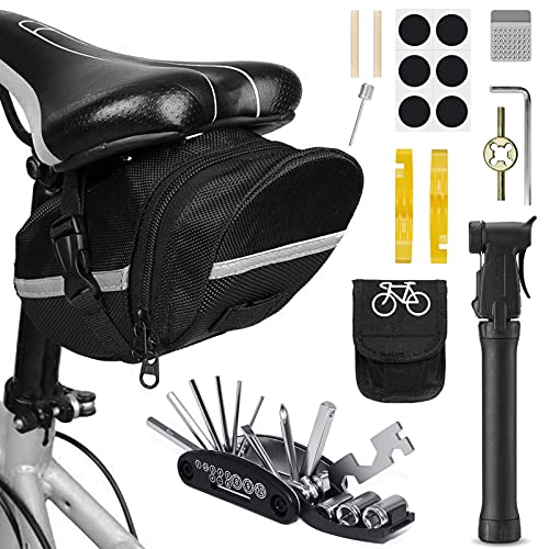VICKSONGS Kit de Herramientas para Bicicleta, [16 Set/Aleación, Alta Dureza] Kit Pinchazos Bici, Herramienta de Reparación Multifunción para Bicicleta (F)
