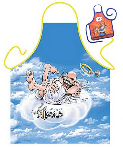 Grillschürze Engel Aloisius lachend Küchenschürze Herren Koch Schürze geil bedruckt Geschenk Set mit Mini Flaschenschürze