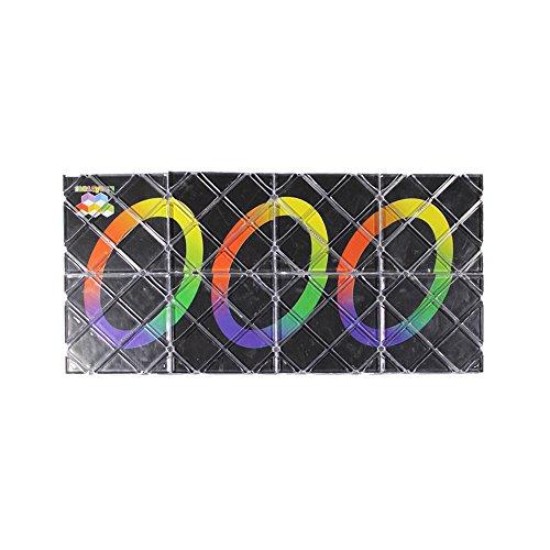 HappyToy LingAo 8 Panels 3 Rings Black Magic Folding Puzzle Cube Twisty