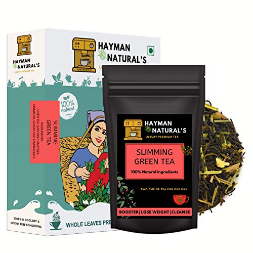 Hayman Naturals Slimming Green Tea (100g | 56cups) for Weight Loss and Belly Fat Made with Garcinia Cambogia,Lemongrass-100% Natural