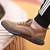 Zapatos de seguridad Zapatos de seguridad de verano, zapatos de trabajo transpirables, punteras de acero, zapatillas deportivas, parte superior tejida con vuelo, plantillas de Kevlar, zapatos protecto