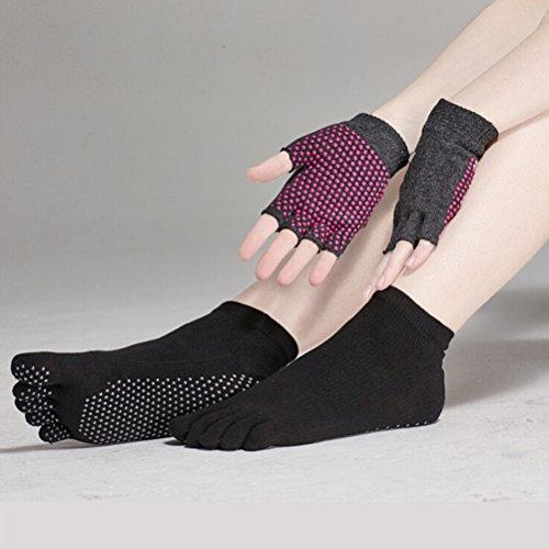 Pixnor Calcetines de yoga y Yoga juegos de guantes con puntos de silicona...