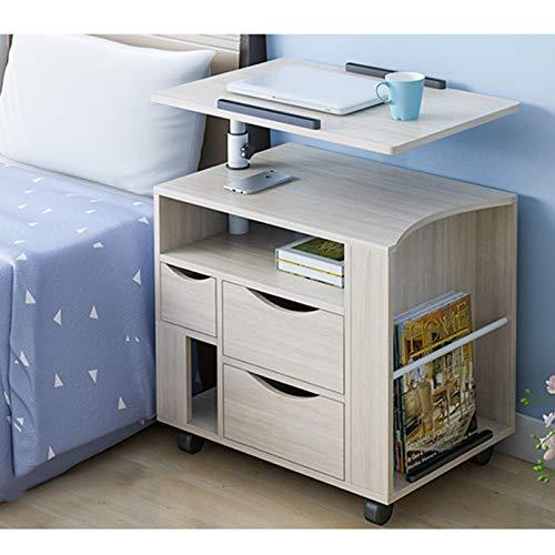 Mesita de noche elevable para portátil con 2 cajones, mesa de noche giratoria ajustable de madera para el hogar y la oficina (arce blanco, 58 x 40 x 75 ~ 90 cm)