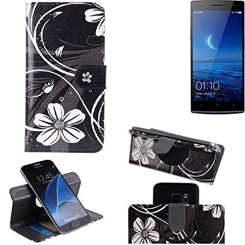 K-S-Trade® Schutzhülle Für Oppo Find 7 Hülle 360° Wallet Case Schutz Hülle ''Flowers'' Smartphone Flip Cover Flipstyle Tasche Handyhülle Schwarz-weiß 1x