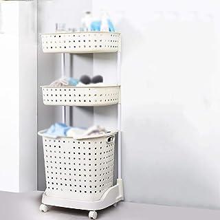 NewbieBoom Armarios Altos Estantes de baño/Baño/Múltiples Capas/Lavadora de Almacenamiento/Aseo Estantería de Almacenamiento/Baño/Aseo/Aseo Rack/Plastic Rack (Color, Brown),Blanco