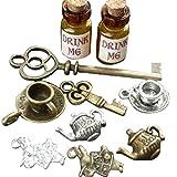 Alice in Wonderland 10 Pcs Steampunk Antique 1ml Drink Me Bottle Vial Jewelry Charm Findings Mix Lot 100