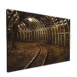 PATINISA Cuadro en Lienzo,Traffic Tools Series Pasaje de una mina de carbón en una mina de carbón moderna con pistas,Impresión Artística Imagen Gráfica Decoracion de Pared