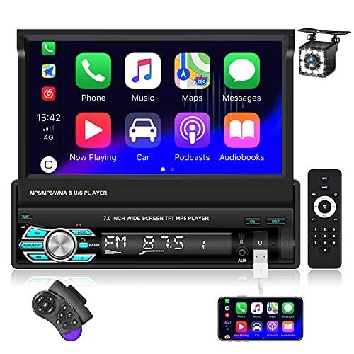 NHOPEEW Autoradio 1 Din con carplay, 7 pollici touchscreen stereo auto Supporti Bluetooth FM MirrorLink per Android / iOS, controllo del volante + fotocamera di backup