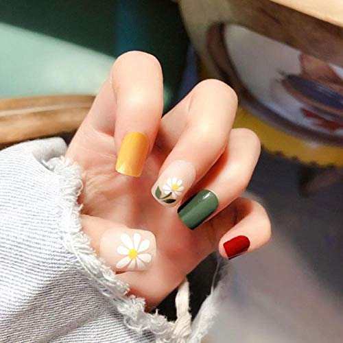 CLOAAE 24pcs Full Cover square press on nails Fresh Girls Wearable fake short nails Four Jump Color Cute Flower Shape nails with