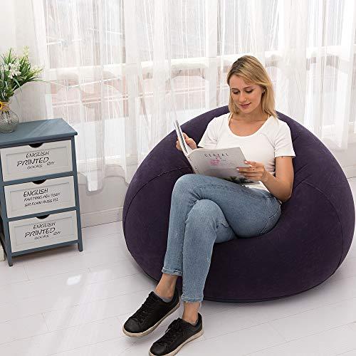 LONEEDY Sofá inflable para silla, asiento de estallado para juegos, para interiores y exteriores, camping, jardín, elegante tela de felpa suave para adultos y niños individual (azul esférico)