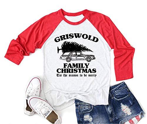 Griswold Family Christmas Shirt Women Christmas Vacation Shirt Funny Raglan Baseball Tee 3/4 Sleeve Tops (XL, Red1)