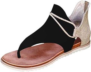 Sandalias Mujer Verano 2020 Cuña Fondo Plano Sandalias Punta Abierta Cuero Retro Zapatos Tacón Plano Casuales Cómodas Muje...