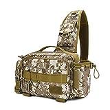 SANGSHI Fishing Waist Tackle Bag - Bolsa para aparejos de pesca, bolso bandolera con un hombro, riñonera, bolsa de almacenamiento giratoria, multifuncional, a, Desert Digital