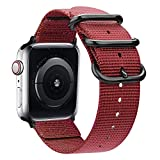 Misker nylon Band Compatible with Apple Watch Band 44mm 42mm 40mm 38mm, Lightweight Breathable Sport Wrist Strap with Metal Buckle Compatible with iwatch series 5/4/3/2/1 (Wine, 38MM/40MM)