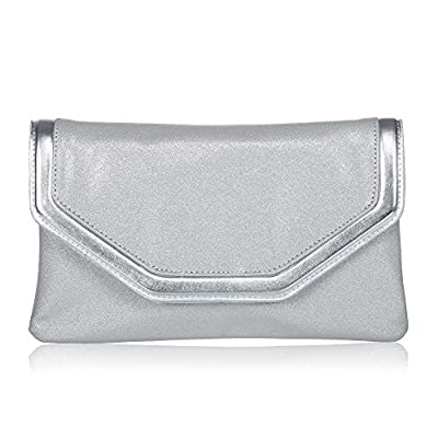 Classic PU Leather Evening Clutch,WALLYN'S Party Purse Evening Bag With Chain Strap