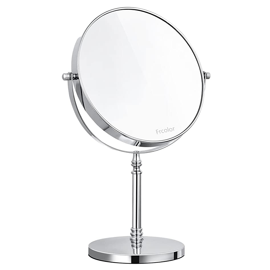 恵み朝ごはん物語Frcolor 化粧鏡 卓上ミラー 両面鏡 スタンドミラー 10倍拡大鏡 ラウンド 拭く布を付き 8インチ 360度回転 メイクアップミラー